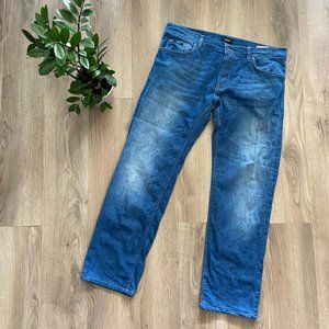 """Hugo Boss Blue Cropped Straight """"Stretch"""" Jeans"""
